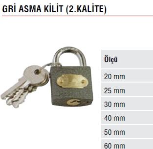 GRİ ASMA KİLİT 2.KALİTE